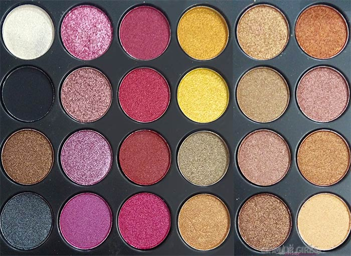 Top left 24 shades from Glamorous Face Eyeshadow Palette
