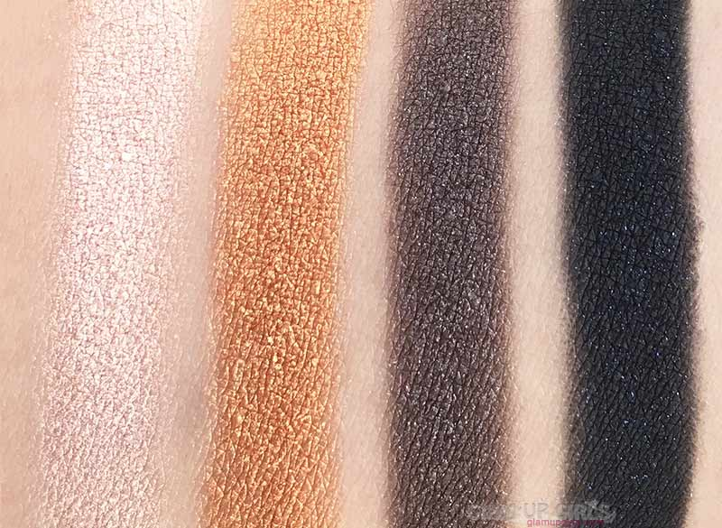 Swatches of Unbothered, TF, Titus and Stallion from ColourPop Perception Pressed Powder Shadow Palette
