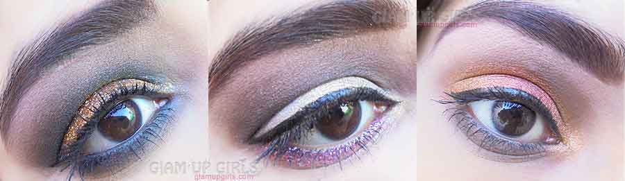 Eye makeup with glitter and eye dust