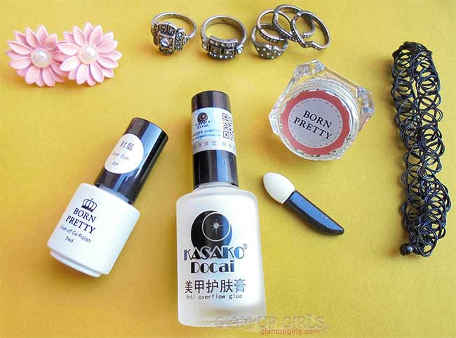 Mirror Nail Powder, UV Top Coat, Peel Off Liquid Tape and Jewelry from Born Pretty Store