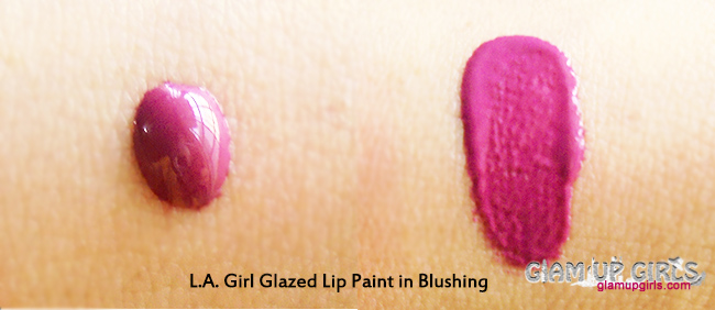 L.A. Girl Glazed Lip Paint in Blushing - Review And Swatches