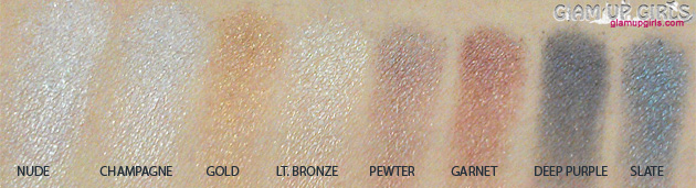 Lorac Pro Eyeshadow Palette, Bottom row 8 shimmery eyeshadow or glitter eyeshadow