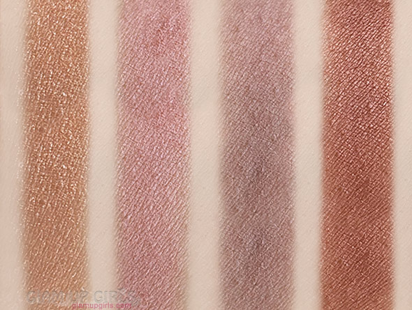 Swatches of W7 The Naughty Nine Eyeshadow Collection in Mid Summer Nights - First four