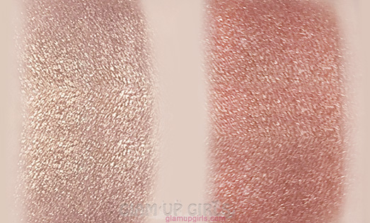 Makeup Revolution Vivid Shimmer Brick in Radiant and Rose Gold blended Swatches