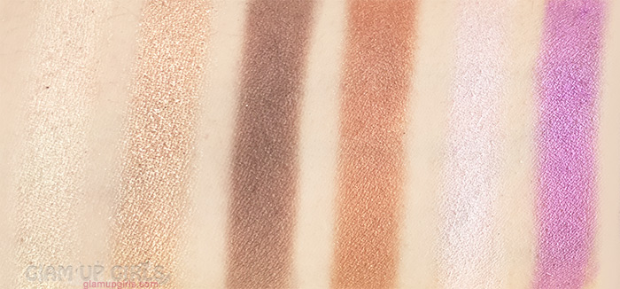 Sigma Beauty Nightlife Eyeshadow by Camila Coelho swatches of Bijou, 4 Star, Panache, Topaz, Skyline and VIP