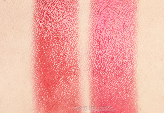 Swatches of Golden Rose Sheer Shine Stylo Lipstick in 20 and 28