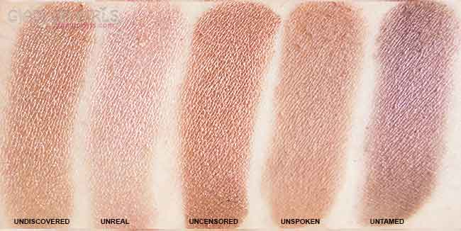 Lorac Unzipped Eyeshadow Palette, bottom 5 matte and shimmery shades