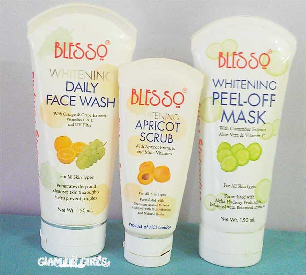 Blesso Whitening daily Face wash, Apricot Scrub, Peel - Off Mask - Review