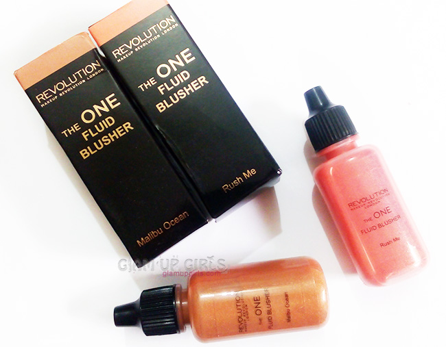 Makeup Revolution The one Fluid Blusher in Rush Me and Malibu Ocean - Review and Swatches