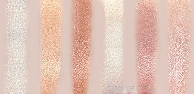 Bh cosmetics spotlight highlight swatches R to L: Ethereal, dream, radiance, glow, allure and vivid
