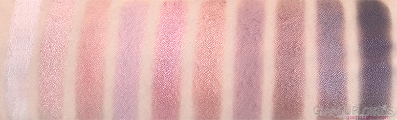 Swatches of e.l.f. Rose Gold Eyeshadow Palette