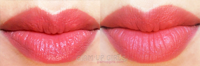 Bourjois Rouge Edition Velvet Peach Club before and after drying