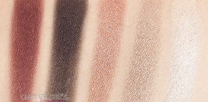 Swatches of Wet n Wild Color Icon Eyeshadow Palette in Comfort Zone Top