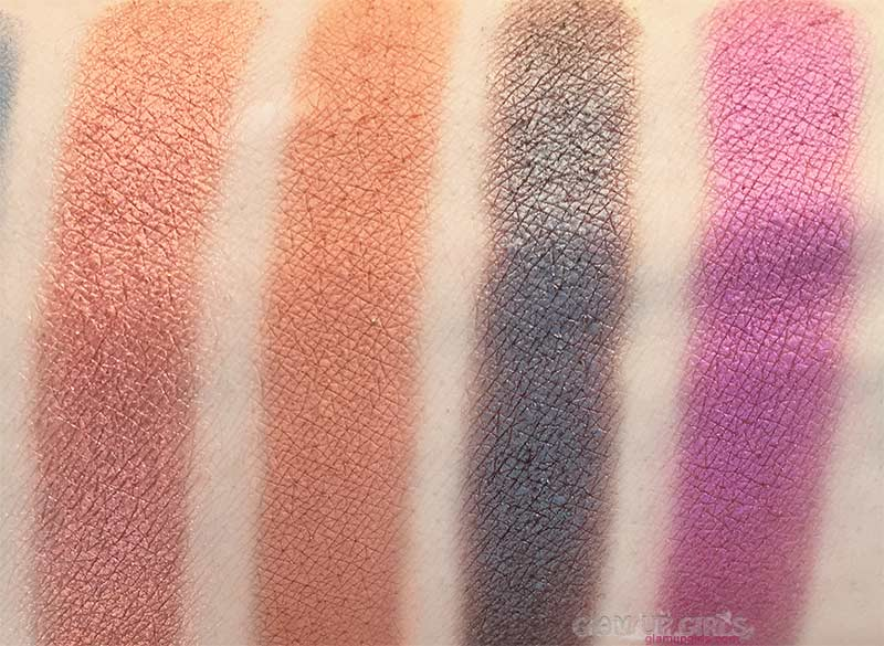 Swatches of Strut 'n Stay, Culture, Sassy and September from ColourPop Perception Pressed Powder Shadow Palette