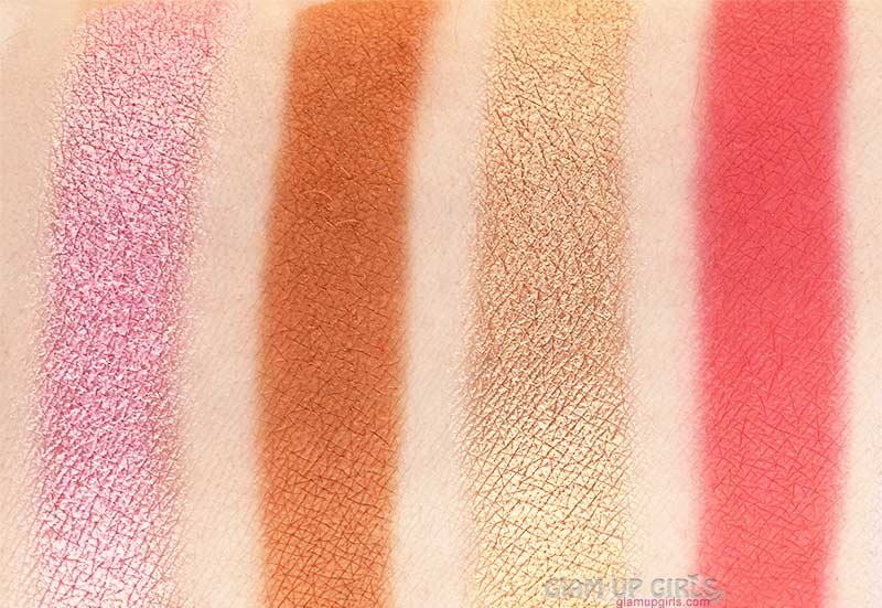 Swatches of Zuba, Nana, Boronu and Kogi from The Magic Mini Eyeshadow Palette by Juvia's Place