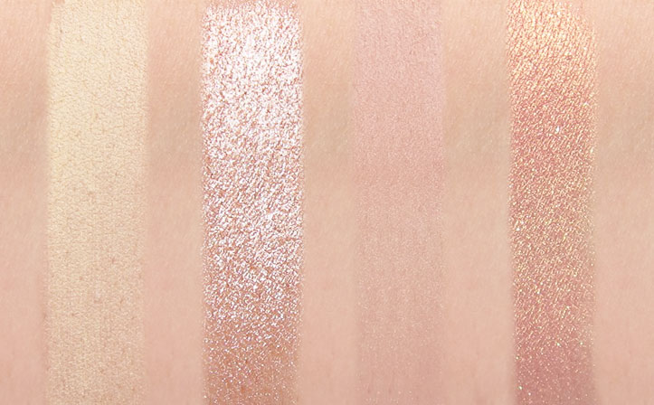 Milani Gilded Desires Eye and Face Palette Swatches of Naked Truth, Champagne Wasted, Sweet As Honey and Most Covet Rose