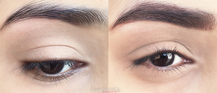 Eye brow grooming look before and after using Luscious Brow Luxe Designer Pencil