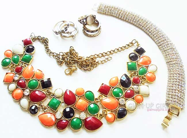 Retro Style Necklace, Rings and Gold Rhinestone Bracelet from Born Pretty Store