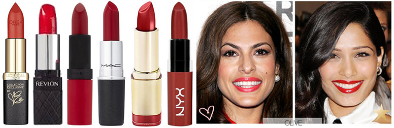 Best Red Lipstick for Olive Skin Tone. L to R: L'Oreal Colour Riche Eva's Red, Revlon ColorBurst Lipstick in True Red, Rimmel Kate Matte Lipstick 107, MAC Ruby Woo, Milani Color Statement Lipstick in Red Label, NYX Butter Lipstick in Mary Janes