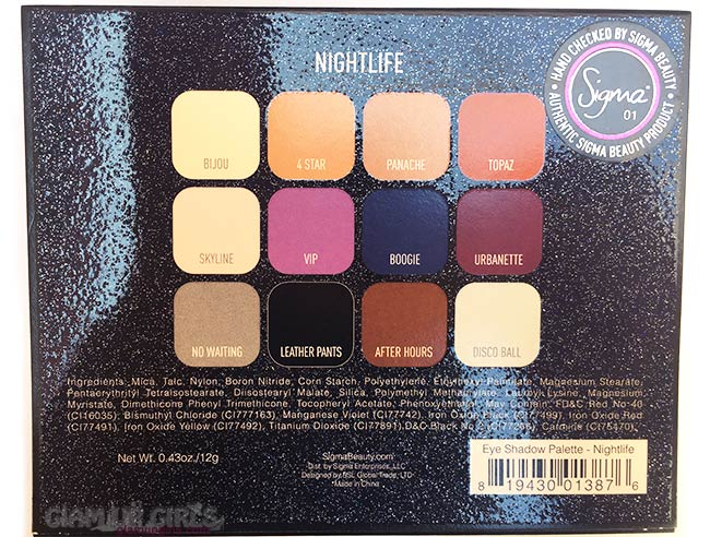 Sigma Beauty Nightlife Eyeshadow by Camila Coelho shades name